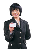 asian businesswoman shoving white card