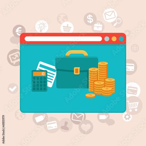 Online finance control app - vector in flat style