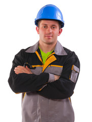 young man wearing working clothes isolated