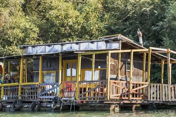 Old Wooden Raft Hut On Sava River - Detail