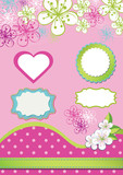 Spring Design element for template.Spring flowers,polka dot,labe