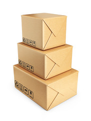 Cardboard boxes. Deliver concept. 3D Icon isolated on white