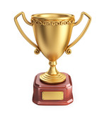Gold cup winner trophy. 3D Icon isolated on white background