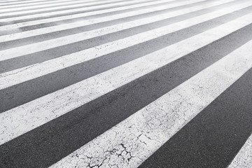 Zebra crossing painted on asphalt