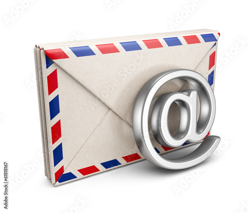Mail letter with e-mail symbol. 3D Icon isolated on white backgr