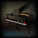 abstract grunge background with rose on grand piano