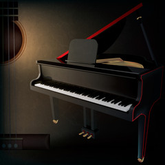 abstract grunge music background with guitar and grand piano