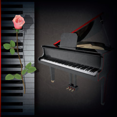 abstract grunge background with red rose and grand piano on blac