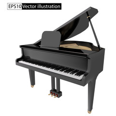 vector illustration gand piano isolated on White background