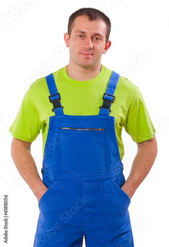men wearing working clothes isolated on white