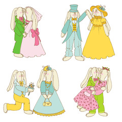Set of Bunny Dolls - in Love, Wedding - in vector