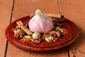 various spices and garlic