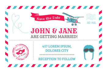 Wedding Invitation Card - Airplane Theme - in vector