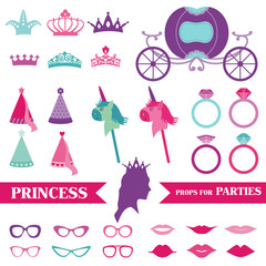 Princess Party set - photobooth props - crown, rings, glasses