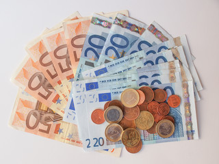 Euros coins and notes