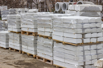 Stack of packed concrete curbs stones