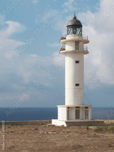 Lighthouse at Formentera sea coast
