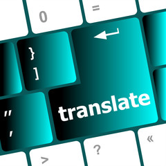 Multilingual translation on-line concept. multi keyboard