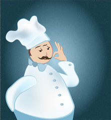 Chef. Man in cooker uniform showing Ok sign