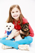 Young girl with puppies,Yorkshire terrier and Maltese dog