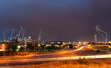 Denver, Colorado - Downtown Skyline During Lightning Storm