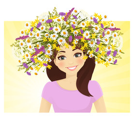 Young woman in wreath of wild  flower