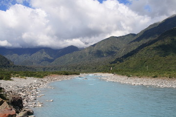 Landscape in New Zealand. Whataroa River