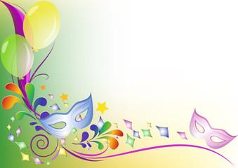 Sfondo colorato festa mascherine palloncini e coriandoli