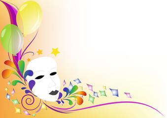 Sfondo colorato festa Maschera palloncini e coriandoli