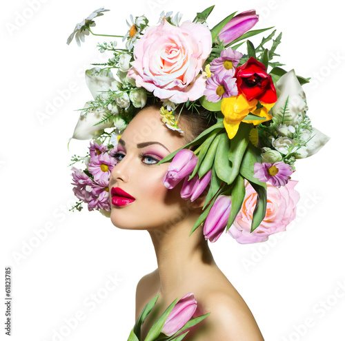 Leinwandbild Motiv Beauty Spring Girl with Flowers Hair Style