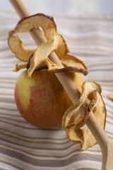 aufgefädelte Apfelchips