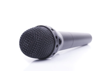 Microphone on a white background.