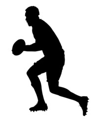 Side Profile of Rugby Forward Running With Ball
