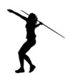 Side Profile of Girl Javelin Thrower Running up to Throw