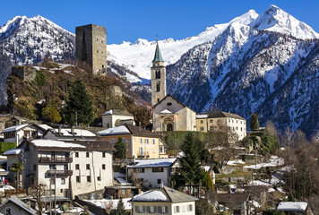 Santa Maria in Calanca town, Switzerland