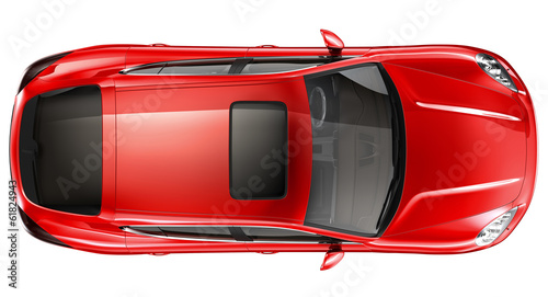 canvas print picture Red sports car - top view