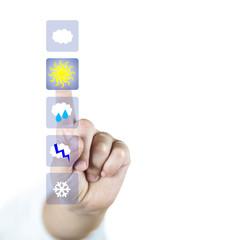 Eligiendo el buen tiempo en la pantalla virtual