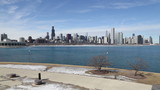 Chicago skyline along Lake Michigan, video