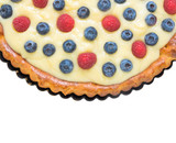 blueberries and raspberries tart, isolated