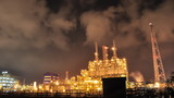 HD Footage of Time lapse of Oil and chemical plant in night time