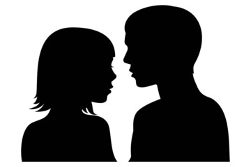 man and woman facing each other silhouette