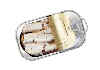 Open can of sardines in oil