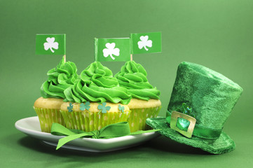 Happy St Patricks Day green cupcakes with leprechaun hat