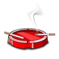 ashtray on white background