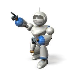 Robot points at target