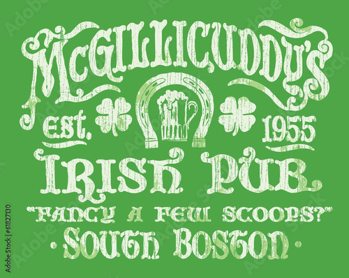 Vintage Irish Pub Sign T-shirt Graphic