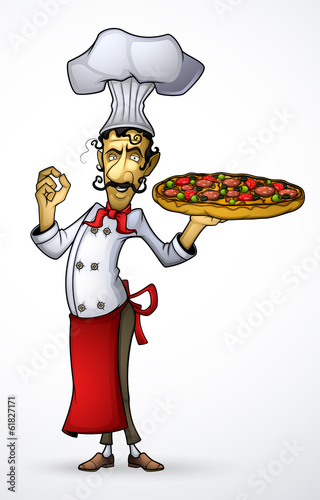 Chef with pizza in his hand