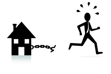 house mortgage concept, man breaking chains and escaping