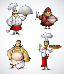 Set of four chefs