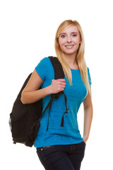 Casual blond smiling girl student with bag backpack isolated